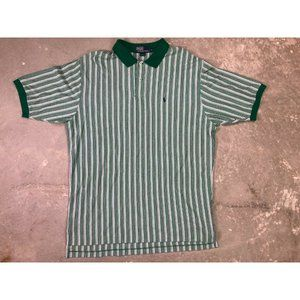 Classic Green and White Stripe Short Polo Sz 2XL